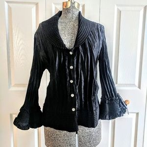 Sexy Cocktail Black Bell Sleeve Corset Back Blouse